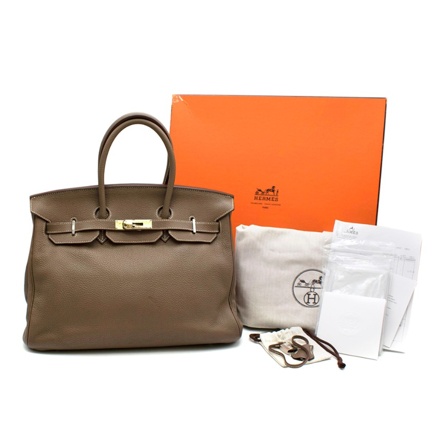 Hermes Clemence Leather Etoupe Birkin 35 PHW