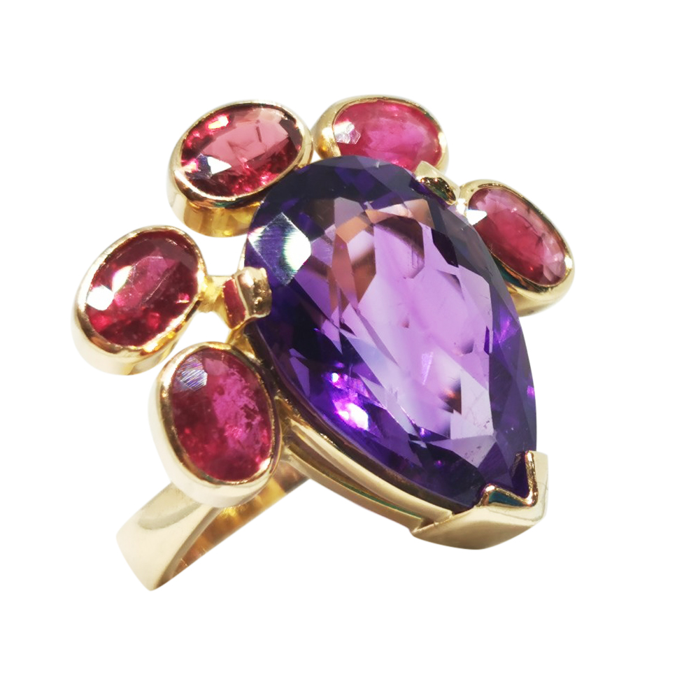 Bespoke 18ct yellow gold Amethyst Ruby & Garnet ring