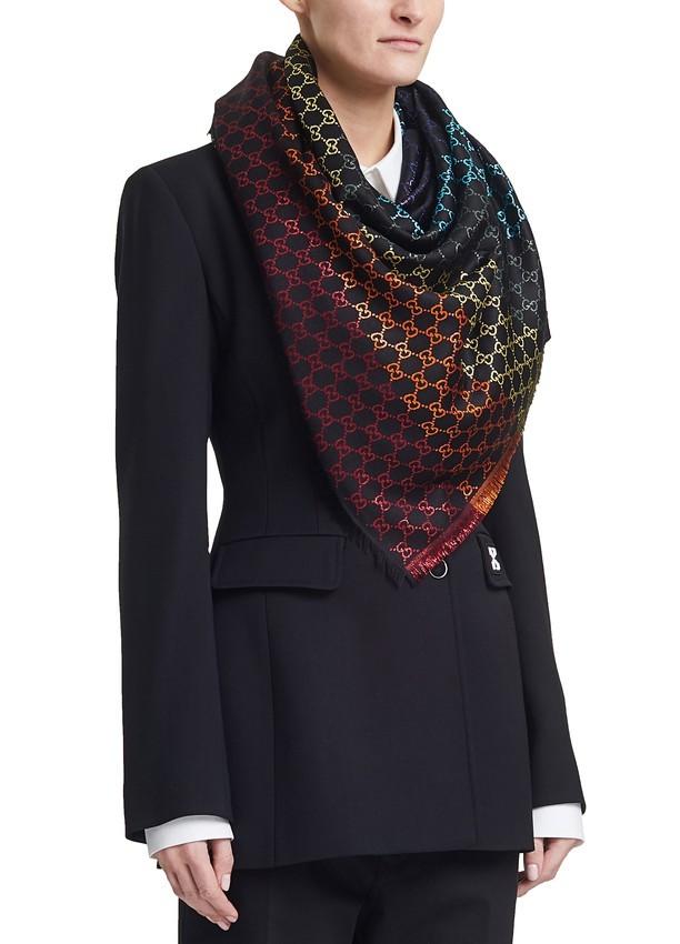 Gucci Multicolour Monogram Knit Scarf
