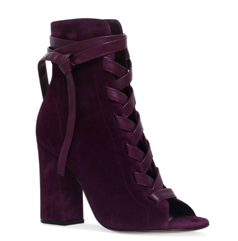 Gianvito Rossi Leather Trimmed Purple Suede Fraser Lace-Up Boots