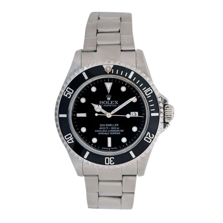 Rolex 40mm Stainless Steel Sea Dweller Watch with Black Dial