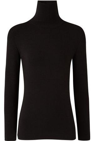 Joseph black turtleneck silk blend stretch knit sweater