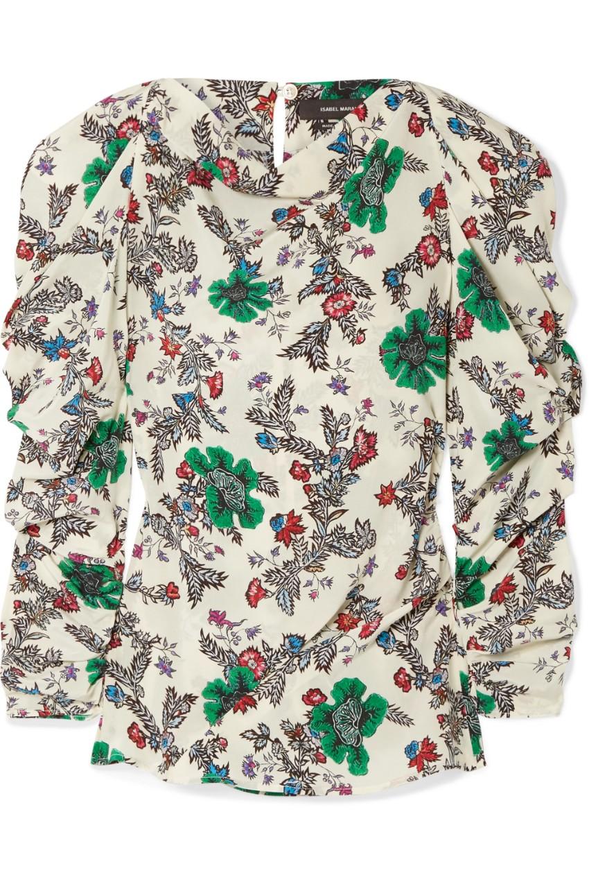 Isabel Marant floral silk blend crepe de chine blouse