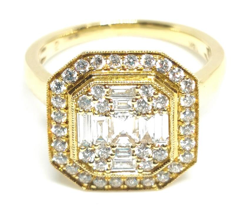 Bespoke 18ct yellow gold & diamond cluster ring