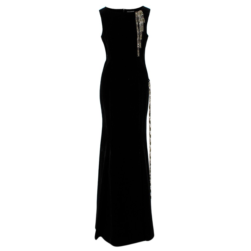 Dolce & Gabbana Black Velvet Gown With Crystal Trim