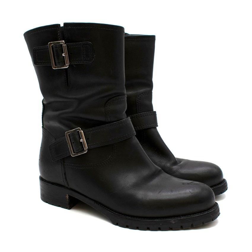 Prada Black Leather Biker Boots