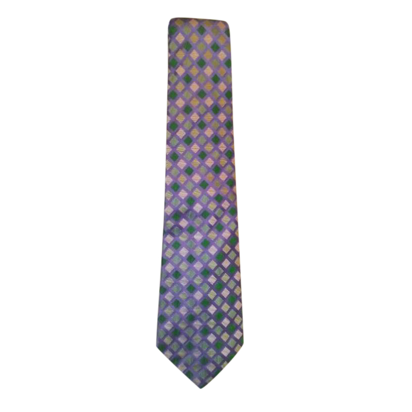 Turnbull Asser mauve check pattern tie