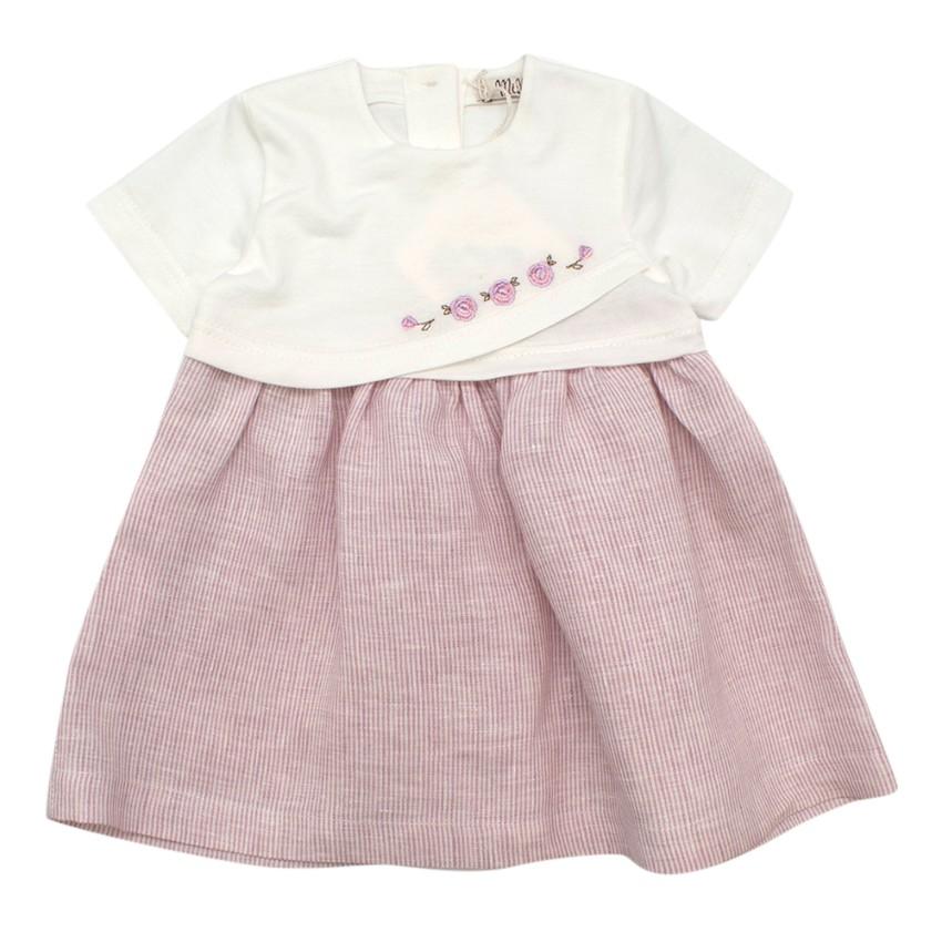 MiMu Ivory & Pink Embroidered Cotton Jersey Dress