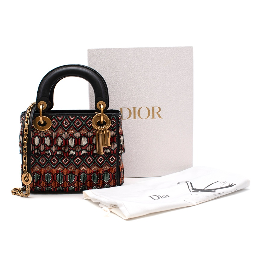 Dior Embroidered Fringed Mini Lady Dior Bag