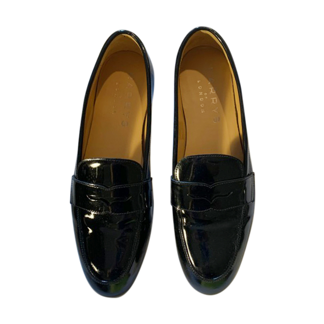 Harrys of London black patent leather penny loafers