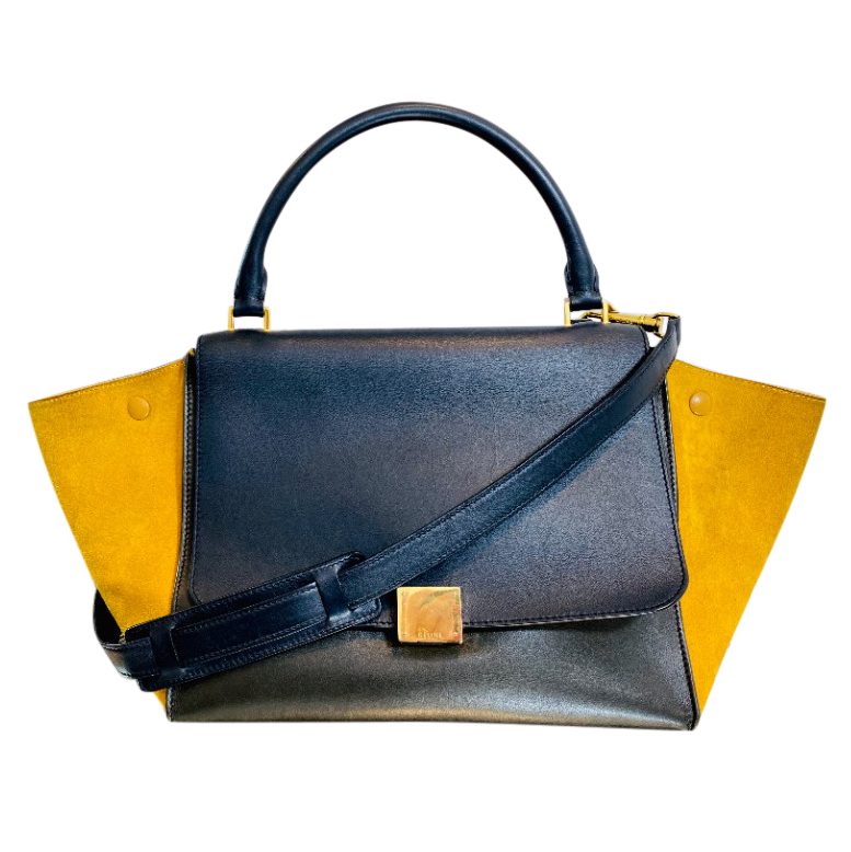 Celine navy & mustard yellow suede trapeze bag
