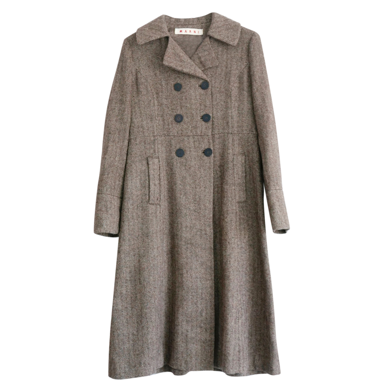 Marni brown herringbone wool long coat