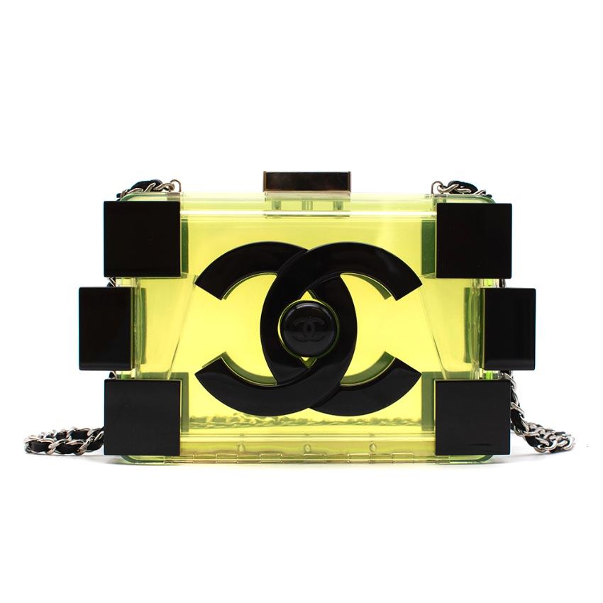 Chanel Lego Clutch in Neon Green Translucent Plexiglass