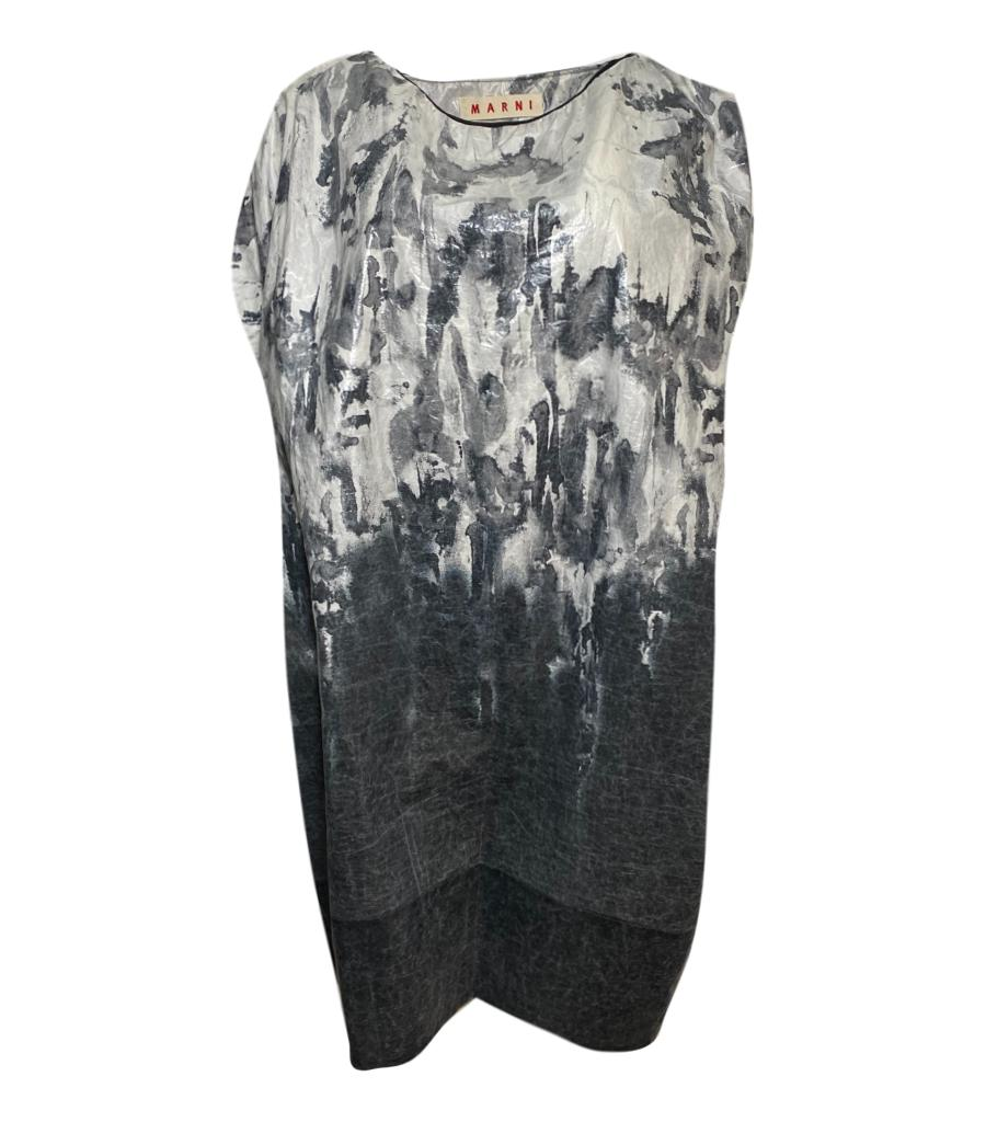 Marni grey & white patterened cotton midi dress