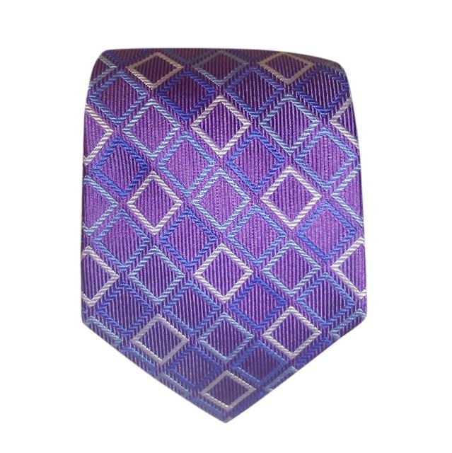 Turnbull Asser purple diamond pattern silk tie