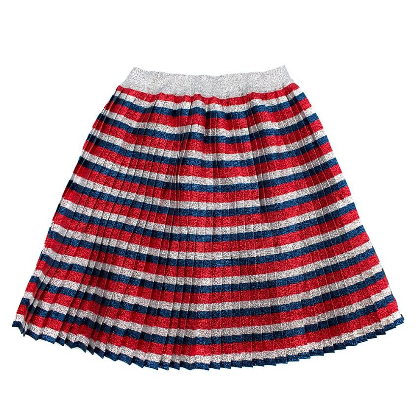 Gucci Kids Metallic Striped Pleated Skater Skirt