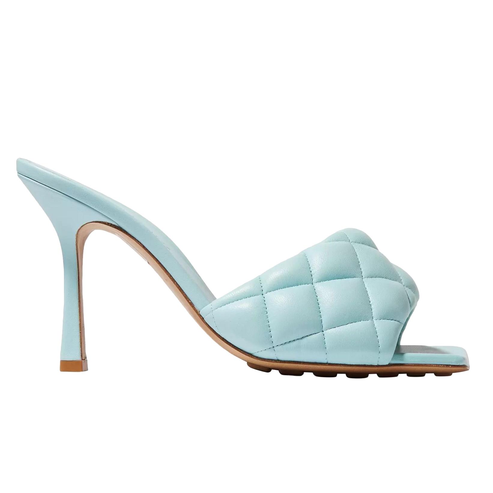 Bottega Veneta blue quilted padded nappa leather mules