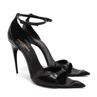 Saint Laurent Black Patent Strappy Stiletto Sandals