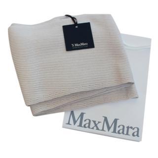 MaxMara Ecru wool & cashmere blend scarf