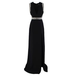 Gucci Black Sleeveless Crystal Embellished Gown