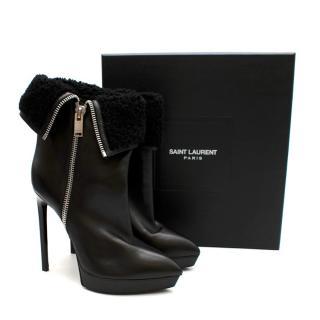 Saint Laurent Stiletto Shearling Lined Platform Boots