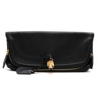 Alexander McQueen Black Foldover Skull Clutch Bag