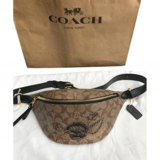 Coach brown floral painted belt bag