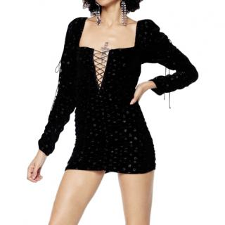 For Love and Lemons Lola velvet lace-up mini dress