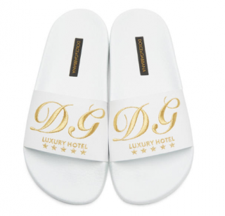 Dolce & Gabbana White Embroidered Slides