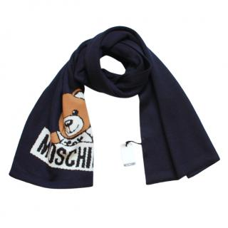 Moschino navy teddy embroidered wool blend scarf