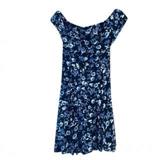 Reformation off-shoulder black fitted floral mini dress