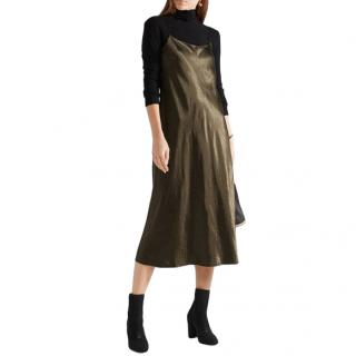 Vince khaki silk slip dress