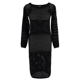 Tom Ford Black Fishnet Long Sleeve Dress