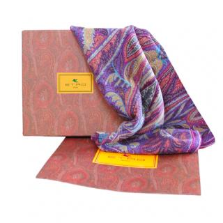 Etro purple paisley wool blend scarf