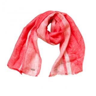 Hugo Boss red & white linen scarf