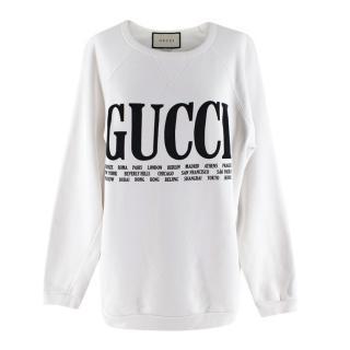 Gucci Logo Cities White Sweatshirt