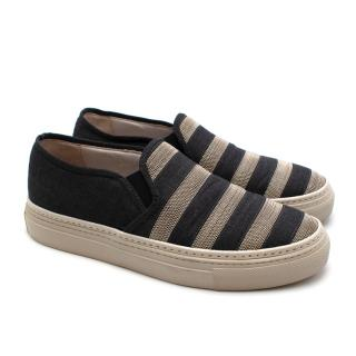 Brunello Cucinelli Denim Monili Bead Striped Slip-on Sneaker