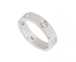 Cartier Love Wedding Band, 6 Diamonds in White Gold