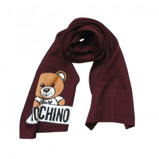 Moschino Burgundy Teddy Bear Wool Blend Shawl
