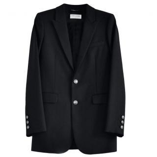 Saint Laurent Black Wool Tailored Single Breasted Jacket