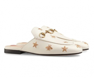 Gucci Princetown Embroidered Leather Slippers