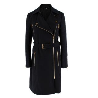 Gucci Black & Gold Wool Belted Trench Coat