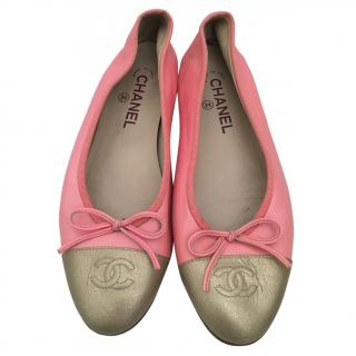 Chanel pink & gold soft leather bow ballet flats