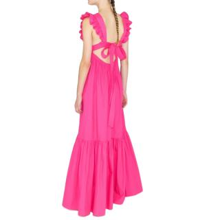 Self Portrait Fuchsia Cotton Maxi Dress