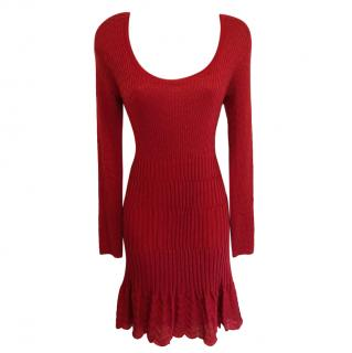 M Missoni Red Knit Skater Dress