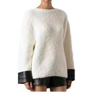 Gucci Alpaca & Wool Cream Jumper with Leather Cuffs