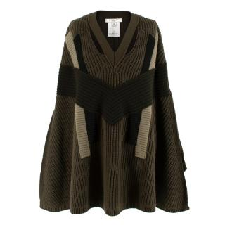 Givenchy Khaki Cable Knit Wool & Cashmere Poncho