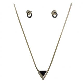 Christian Dior goldtone & Swarovski pendant necklace & earring set