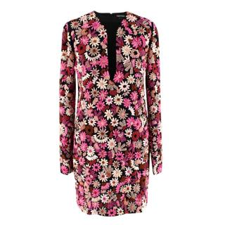 Tom Ford Pink Embroidered Flower Embellished Dress