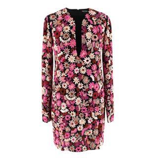 Tom Ford Pink Embroidered Flower Embellished Dress